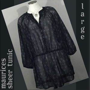 Maurices Tops - Maurices Sheer Tunic Blouse L Lg Navy Blue